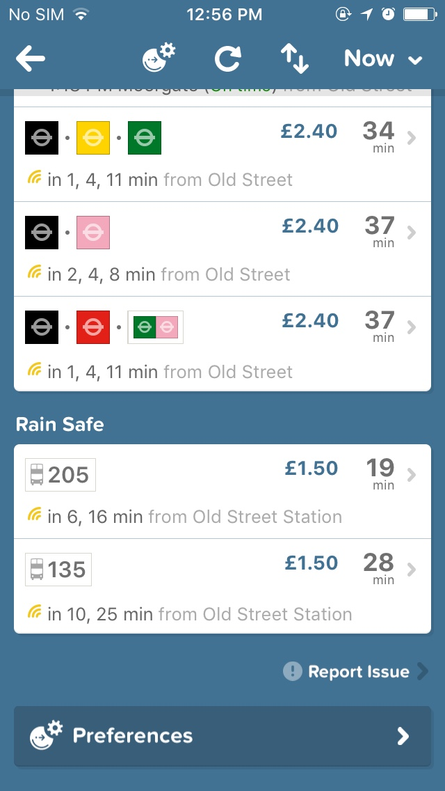 routes on citymapper