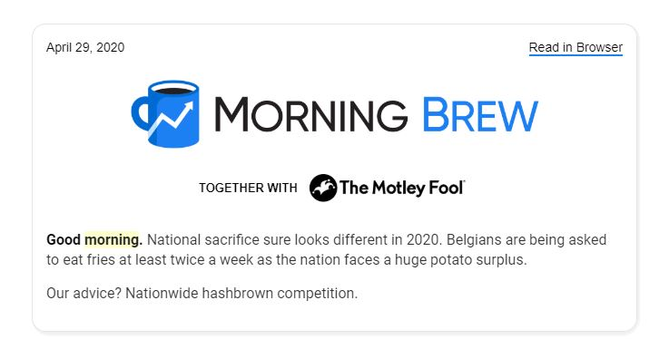best newsletters 2020 morning brew